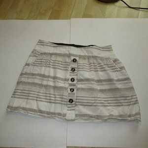 Maurices Cream and Tan Striped Skirt with Pockets